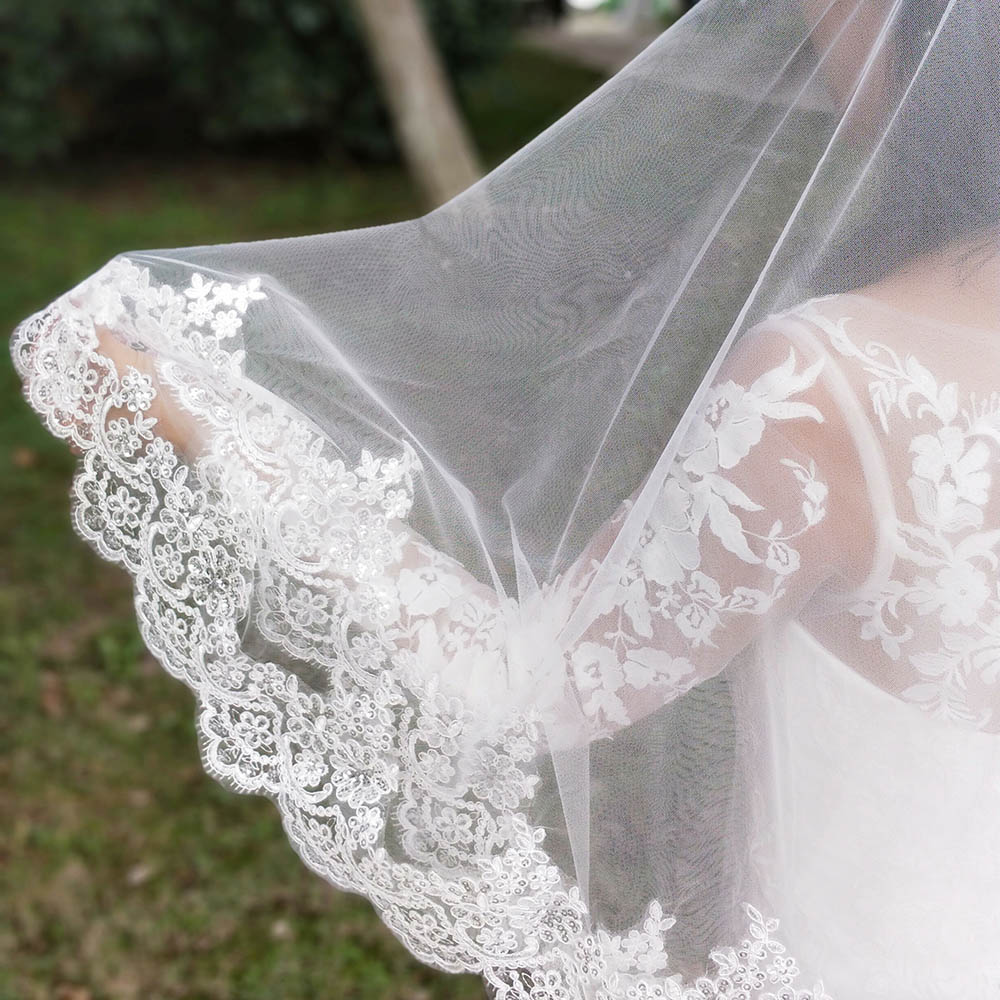 Image 3 - New Arrival 2 Layers Sequins Lace Edge Short Woodland Wedding Veils with Comb 2 T White Ivory Tulle Bridal Veils 2019-in Bridal Veils from Weddings & Events