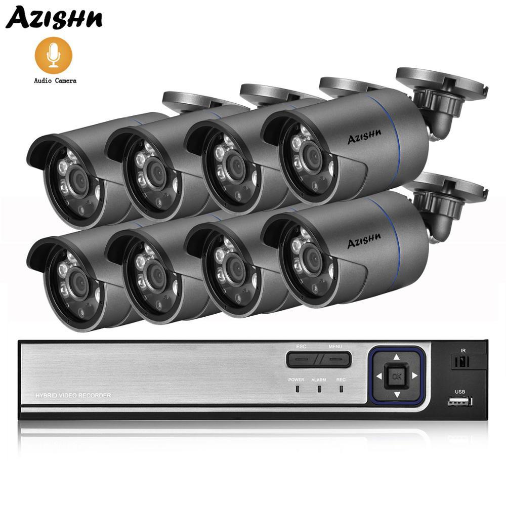 AZISHN 8CH 4MP poe nvr System bezpieczeństwa cctv 4MP HD zewnętrzna wodoodporna kamera ip nagrywania dźwięku Onvif P2P System zestaw do nadzorowania w domu