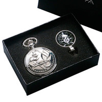Silver Smooth Fullmetal Alchemist Edward Elric S Pocket Watch Snake Cross Symbol Glass Dome Pendant Necklace