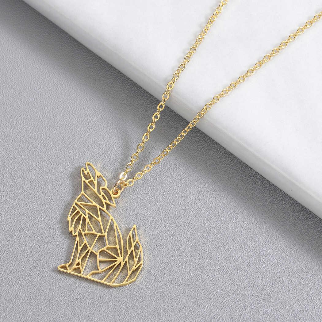 QIMING اوريغامي الذئب الحيوان قلادة المرأة الذكور الذهب الفولاذ المقاوم للصدأ الرجال المجوهرات خمر قلادة القلائد الزفاف هدية