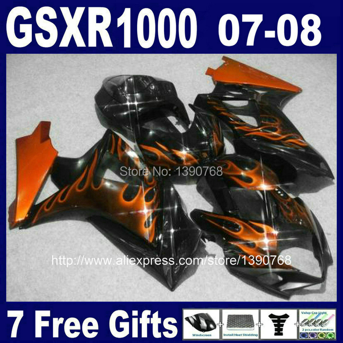 ABS пластик обтекатель комплект для SUZUKI GSXR1000 2007 2008 K7 GSXR 1000 07 08 коричневый пламя черные Обтекатели для кузова Комплект CB50+ 7 подарки