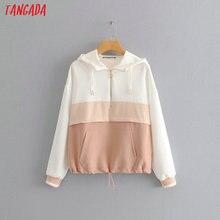 Tangada women elegant patchwork hooded jacket coat windbreak
