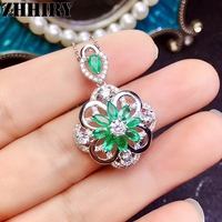 ZHHIRY Natural Green Emerald Gemstone Necklace Pendant Genuine 925 Sterling Silver Flower Shape Pendants Fine Jewelry
