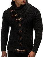Sweater Cardigan Men 2018 Male Brand Casual Slim Sweaters Men Horns Buckle Thick Hedging Turtleneck Men