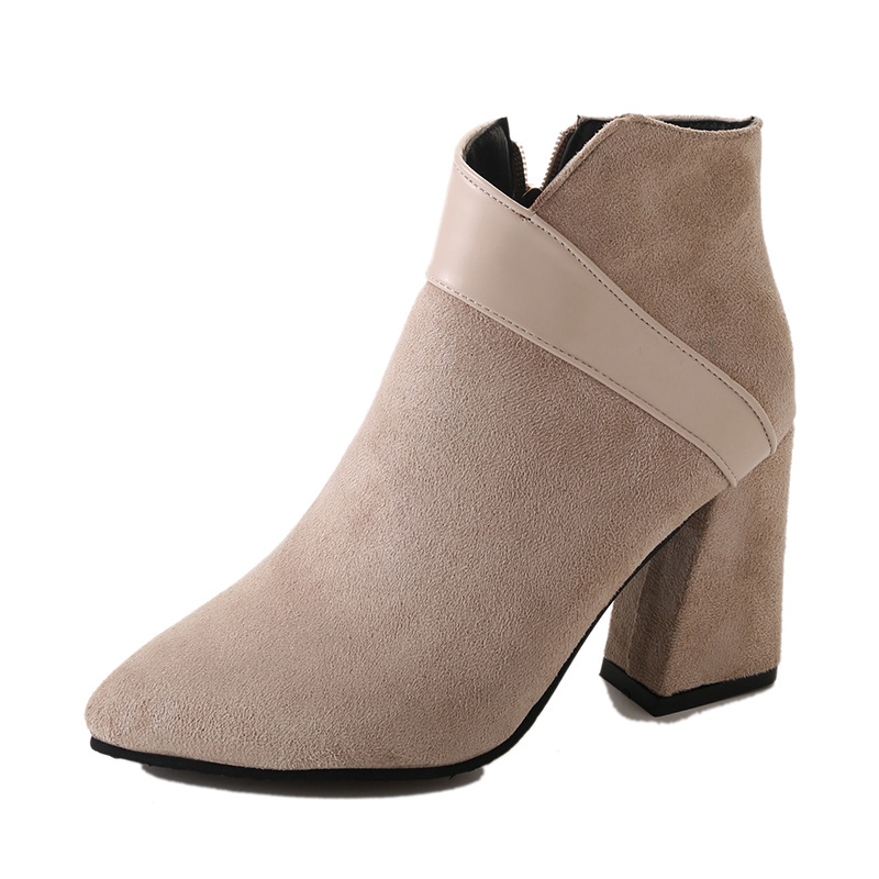 High heels shoes women autumn winter sexy pointed toe ankle boots ladies retro chunky heels short boots botas mujer beige black 42
