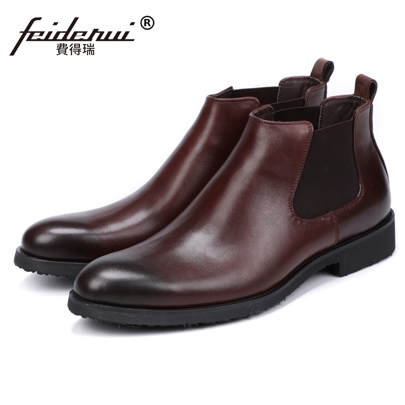 New Vintage Genuine Leather Handmade Man Formal Dress Shoes Round Toe Designer Men's Cowboy Martin Chelsea Ankle Boots JS152 new summer designer man handmade breathable chelsea shoes male genuine leather men s round toe cowboy riding ankle boots ss347