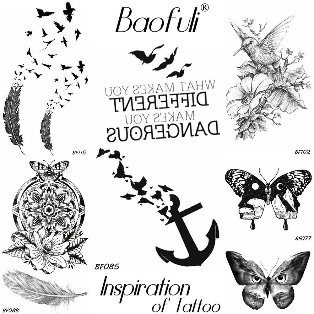 90f5ed48b Baofuli Anchor Bird Tattoo Temporary Feather Black Brids Totem Art Tattoo  Butterfly Owl Pianting Fake Tatto