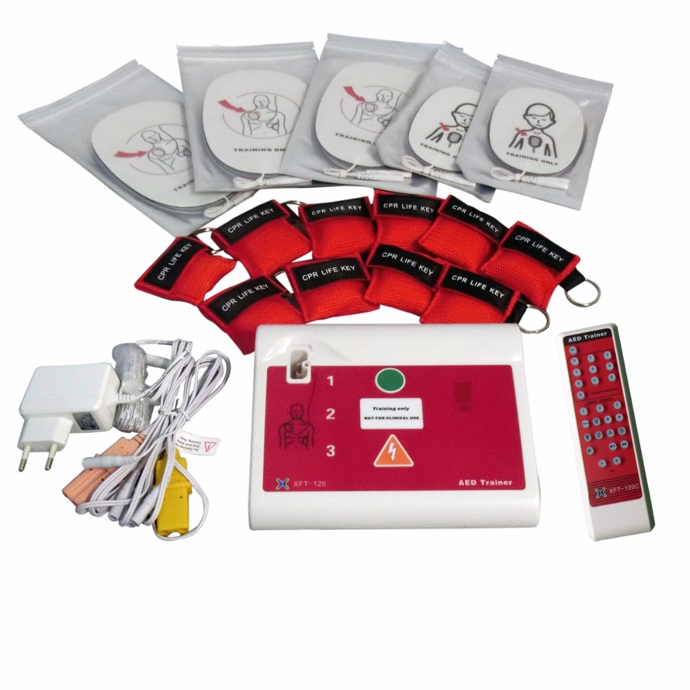 AED Trainer Simulator First Aid CPR Training Teaching Device Emergency Skill Teaching Unit With Electrode Pad Health Care Tool 5pairs aed training electrodes ecg defibrillation electrode pad use with aed machine for emergency skills training