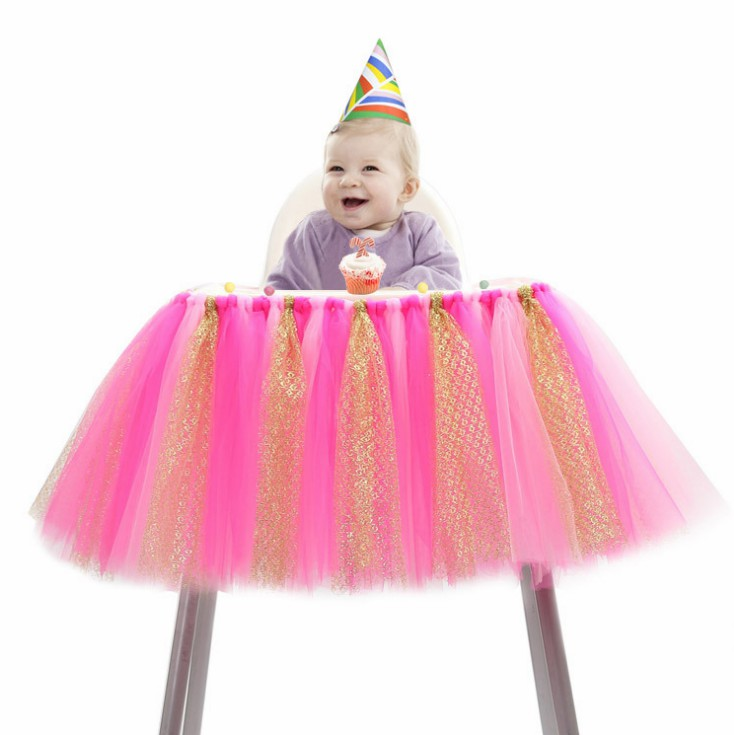 High quality Baby Shower Glitter Tutu High Chair Skirt Cute Table Skirt Baby First Birthday Party Decoration Supplies