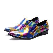 zapatos de hombre multicolor genuine leather sapato masculino male dress wedding shoes slip on formal men italian loafers