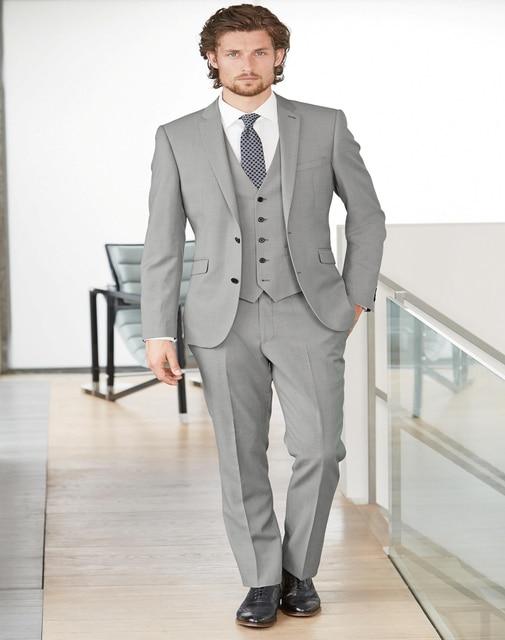 Handsome Side Vent Light Grey Groom Tuxedos Slim Fit Men\'s Wedding ...