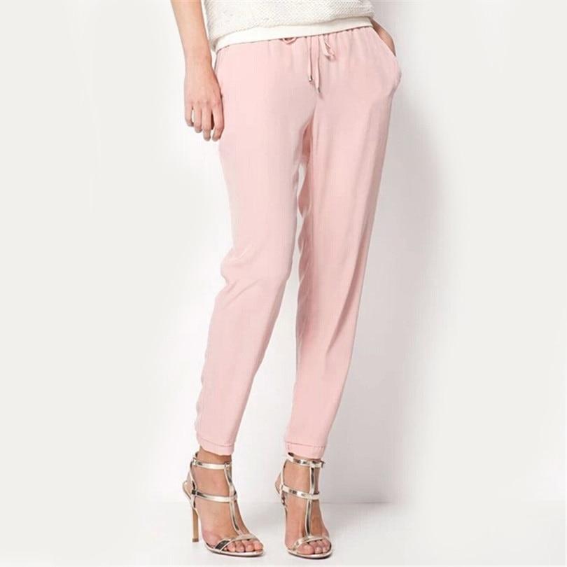 INDJXND Summer OL Chiffon Pantalon Femme Pleated Elastic Waist Drawstring Women Pant Pure Color Harem Plus Size Pantalon Mujer