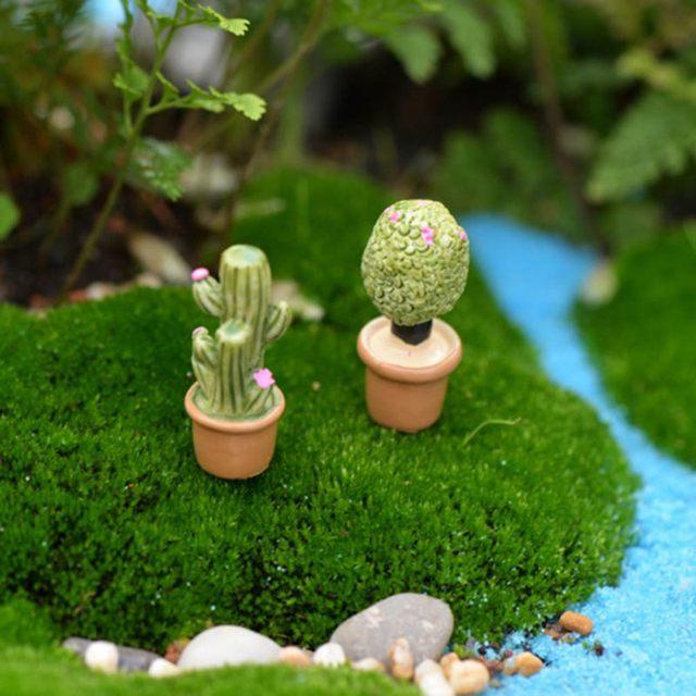 5Pcs Mini Artificial Fleshy Cactus Plant Real Touch Palm Bonsai Landscape Decorative Flower Talbe Decoration Resin Miniature 5