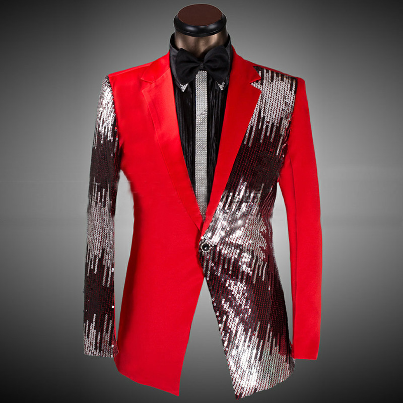 New Wedding Costume Groom Sequined Wedding Suits For Men Suits 2019 Tuxedo Casual Presided Blazer & Suits Black/Red/Blue