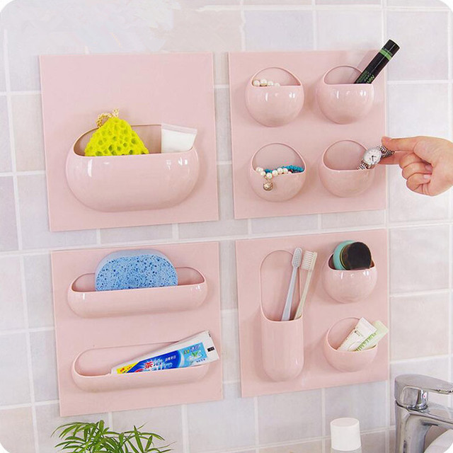4 Styles Wall Suction Cup Kitchen Bathroom Storage Rack Can Use Repeatedly Organizer Shelf
