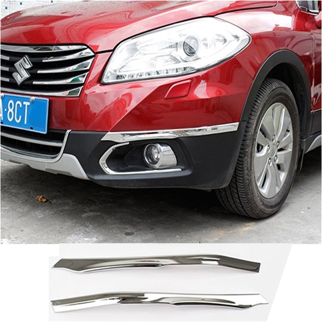 CAR STYLING ACCESSORIES FIT FOR 2014 2015 2016 SUZUKI SX4 S-CROSS ABS CHROME FRONT+REAR BUMPER CORNER PROTECTOR COVER GARNISH