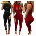 Adogirl Black/Red Women Jumpsuits Sexy Ladies See Through Club Wear Jumpsuits Sleeveless Skinny Bodysuits New Mesh Jumpsuits