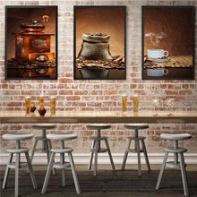 3 Panels Classic coffee canvas art modern oil painting wall pictures for kitchen room decoration pictures for restaurant