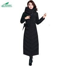 OKXGNZ 2017 Новая Зимняя Мода досуга Куртка Большой Ярдов Женщин пальто Pure color добавить долго Держать Теплый хлопок Пальто Женщин QQ026