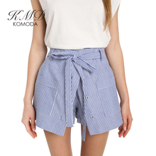 KMD KOMODA Casual Women Cute Summer Shorts Slim High Waist Button Pockets Culotte Lace Up Bottom A-line Skirts Shorts Female