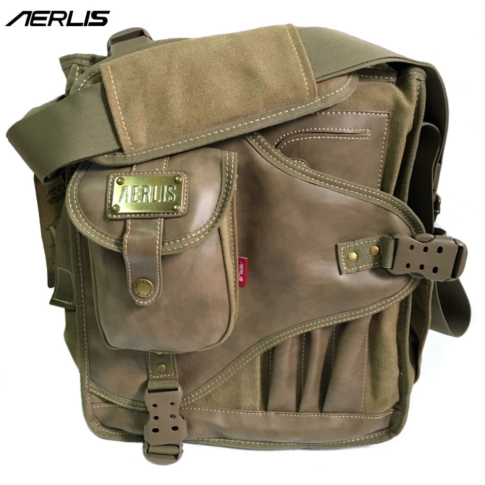 AERLIS Men Messenger Shoulder Bags Canvas Leather Multi Pocket Handbag Male Satchel Crossbody Sling Business School Bag 4505 рюкзак aerlis ae1030