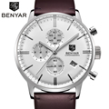 2017 BENYAR New Fashion Luminous Leather Strap Multifunction Watches Luxury Men Quartz Watch Waterproof Wristwatch Male Relojes