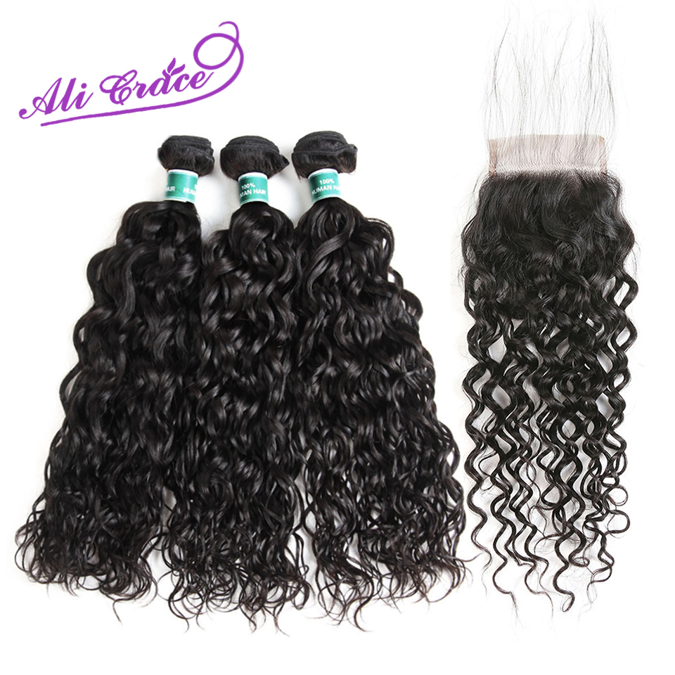 Ali Grace Peruvian Water Wave 3 Bundles With Closure 100 Remy Human Hair Bundles With 4
