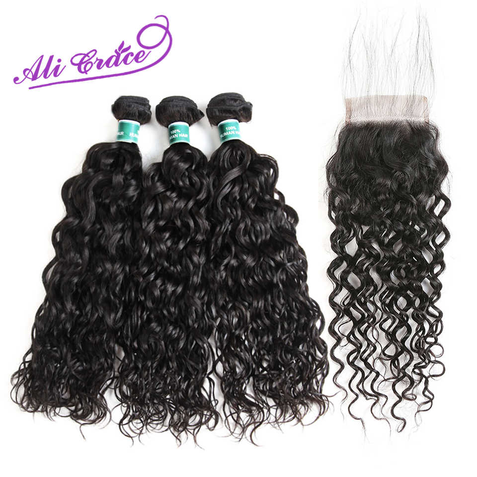 Ali Grace Peruvian Water Wave 3 Bundles With Closure 100% Remy Human Hair Bundles With 4*4 Lace Closure Peruvian Water Wave