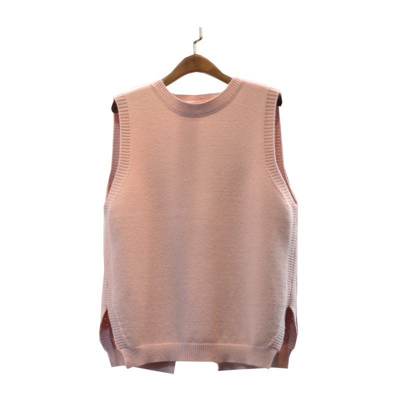 2018 Limited Real Women Sweater Cardigan Women Split Hems All Season Matched O-neck Pullover Solid Tank Medium Vest Sleeveless