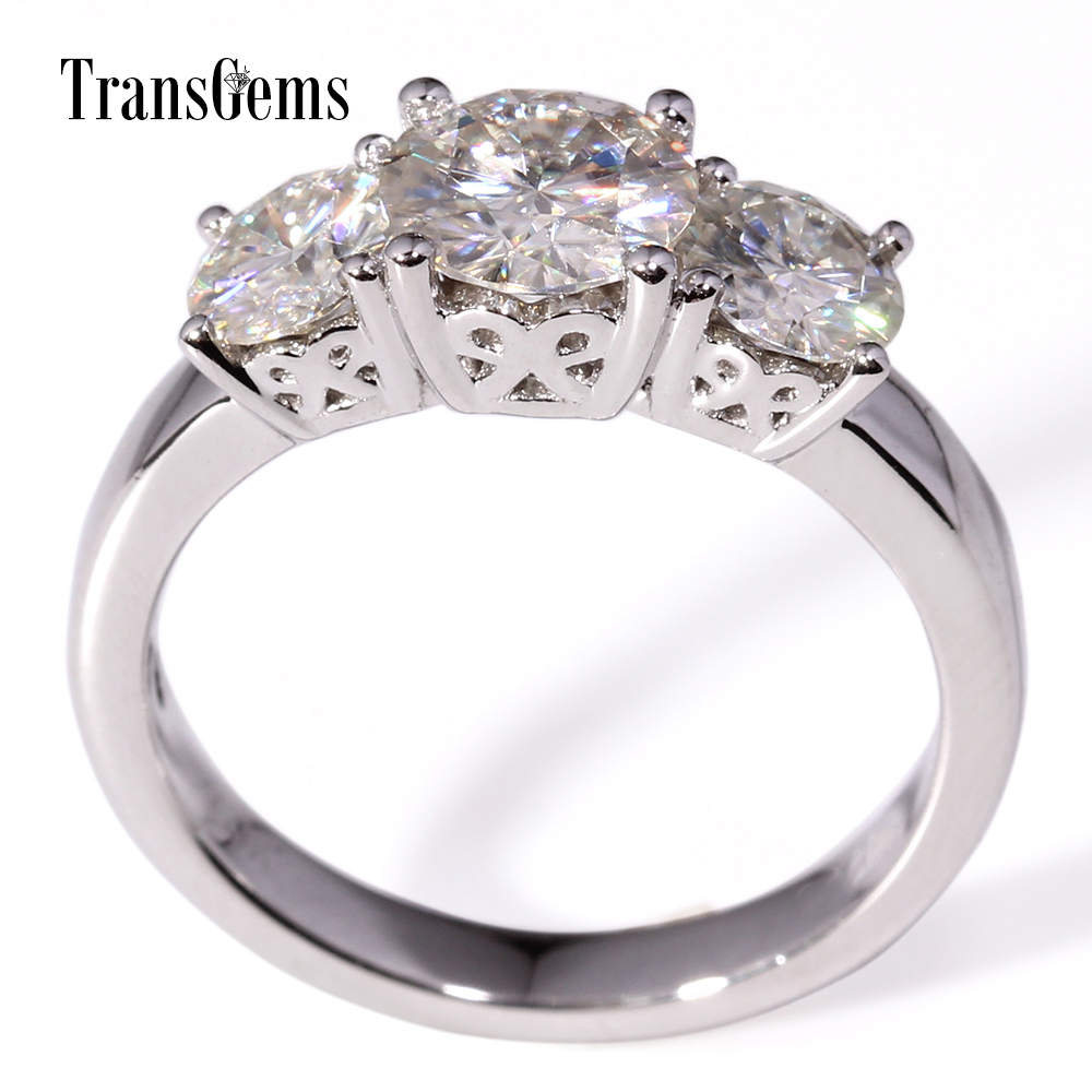 Transgems 1 Ct Top Cut Moissanite Diamonds With 0.5 *2 Accent Stones Three In One Women Rings For Party Real Gold