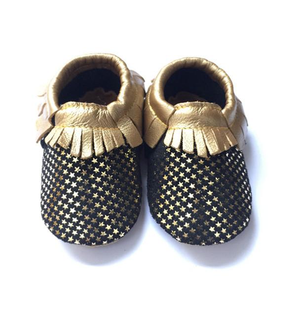 Novo e elegante de Couro Real Do Bebê Mocassins Sapatos Meninos Das Meninas Do Bebê Sapatos de Ouro Estrelas Impresso Newborn Primeiro Walkers criança Bebe Sapatos