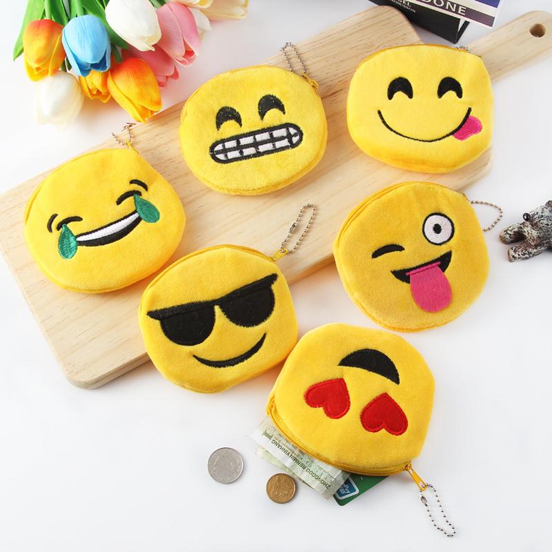 Children Emoji Coin Purse Plush Small Wallet Cute Mini Purse For Kids Portable Change Pocket Card Holder Key Pouch