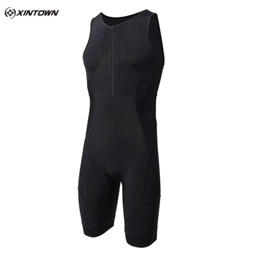 XINTOWN Men Triathlon Clothing Elastic Cycling Jersey Tight Suit Outdoor Sports Bike Cycling Swim Running Triathlon Sleeveless