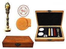 Vintage Base Ball Custom Luxury Wax Seal Sealing Stamp Brass Peacock Metal Handle Sticks Melting Spoon Wood Gift Box Set