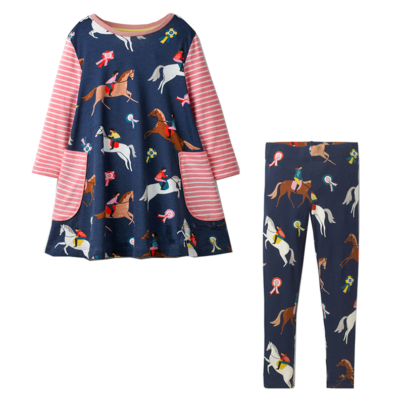 Jumping Meters Baby Girls Clothes Children Clothing Sets Animal Cotton Girls Princess Dress+Leggings Kids Tracksuit Girl Outfits girls autumn clothes children clothing sets print denim coat pu leather jackets for girls dress suit girl outfits kids tracksuit