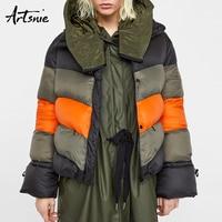 Artsnie Color Patchwork Winter Casual Thick Parkas Women Autumn 2018 Turtleneck Long Sleeve Warm Streetwear Girls Coats Female