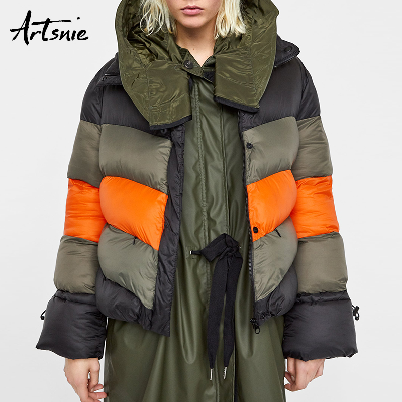 Artsnie Color Patchwork Winter Casual Thick   Parkas   Women Autumn 2018 Turtleneck Long Sleeve Warm Streetwear Girls Coats Female