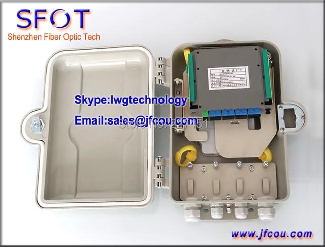 FTTH 1*8 PLC Splitter Box, 8 Cores Outdoor Plastic Fiber Optical Splitter Box, SMC material