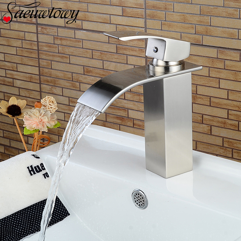 Faucet-Waterfall Mixe-Tap Bathroom-Basin Cold-Sink Water-Brushed Single-Handle Spout