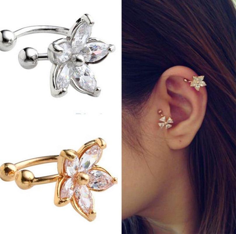 1 StÜck Frauen Mode Cz Kristall Blume U Form Ohrstulpe Clip-on Kein Piercing Ohrring Er770-er771