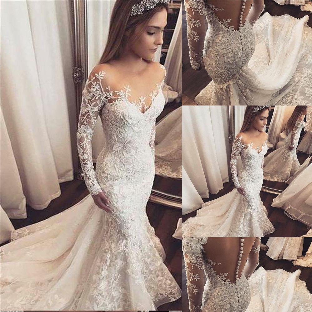 Custom Made Luxury Vintage 2019 Fashion Mermaid Long Sleeve Lace Appliques Crystal Beaded Bride Wedding Dresses SC06