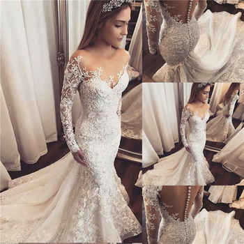 Custom Made Luxury Vintage 2019 Fashion Mermaid Long Sleeve Lace Appliques Crystal Beaded Bride Wedding Dresses SC06 - DISCOUNT ITEM  25% OFF All Category