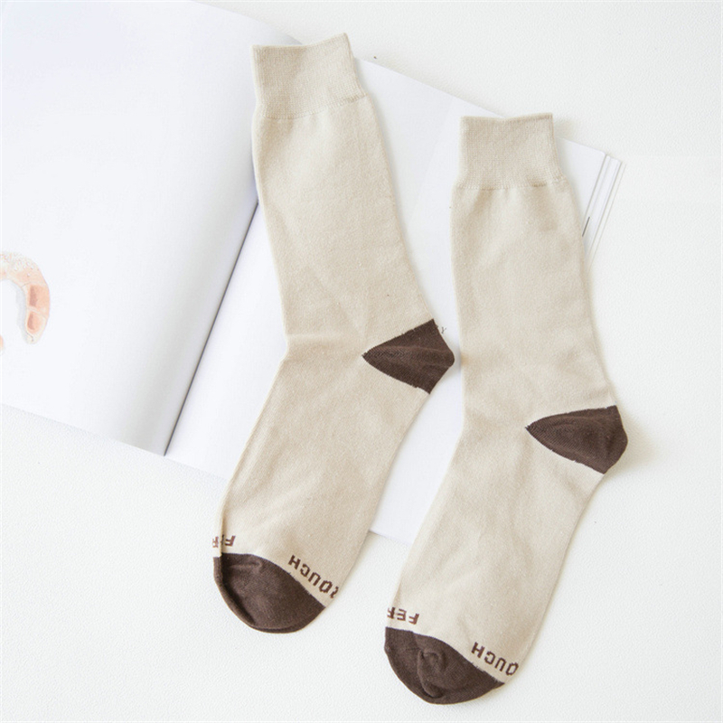 New Cotton Men Crew Socks Beige Color Brown Letters Pattern Fashion Autumn Winter Male Trend Warm Socks, 1 Pair