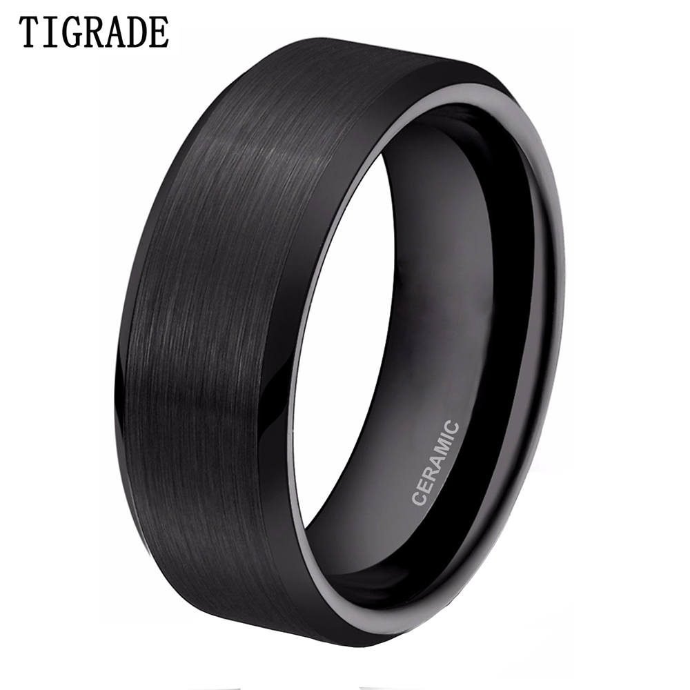 TIGRADE 8mm Black Ceramic Ring Men Brushed Comfort Fit Wedding Band Engagement Rings For Male Bague