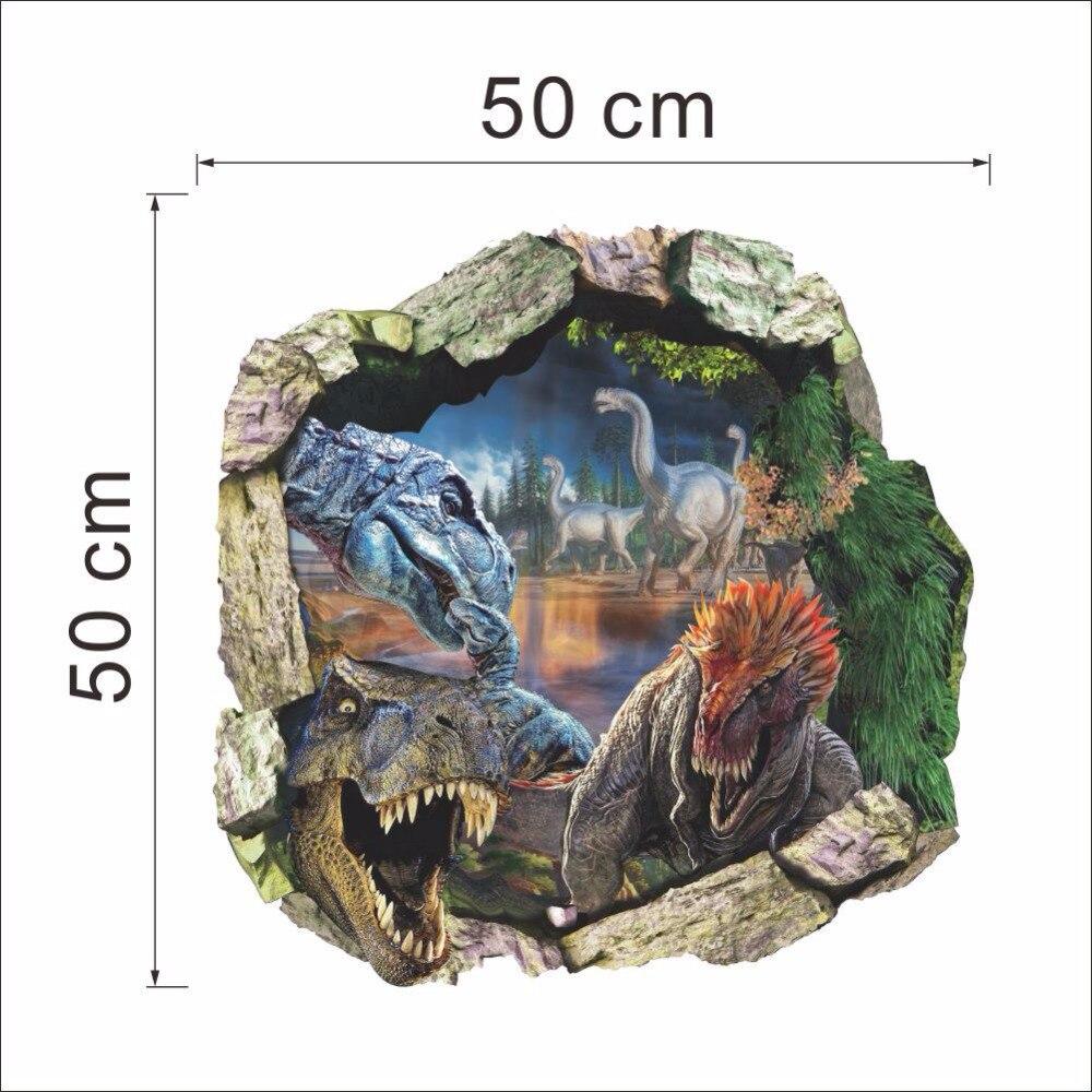 Dinosaur Dünya Divar Etiketləri 3D Ev Dekorasiya Çıkarılabilir - Ev dekoru - Fotoqrafiya 3