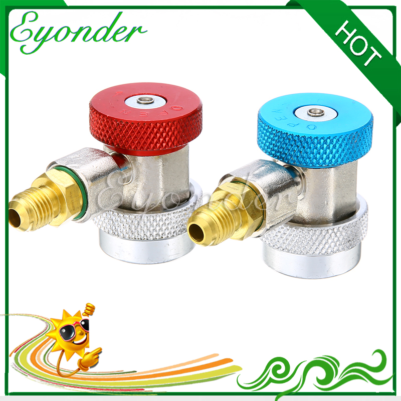 US $11 3 5% OFF|QC ML AC Air Conditioning Adjustable R134a Quick Coupler  Adapter Refrigerant Maniold Repair Freon Connector Set High Low Gauge-in  Fans