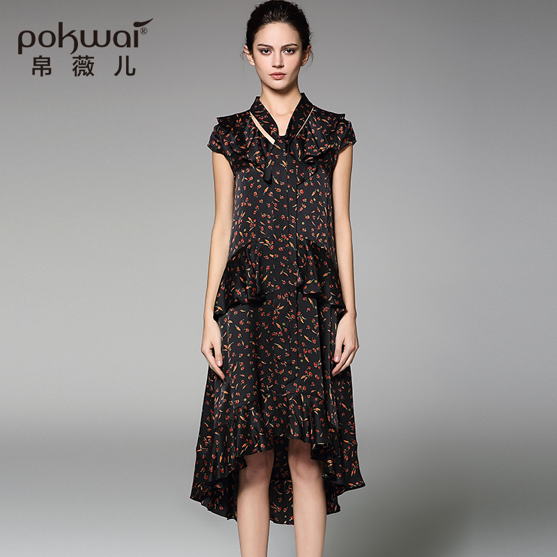 POKWAI Vintage Summer Silk Dress Women Fashion High Quality 2017 New Arrival Short Sleeve V Neck Ruffle Print Asymmetrical Dress