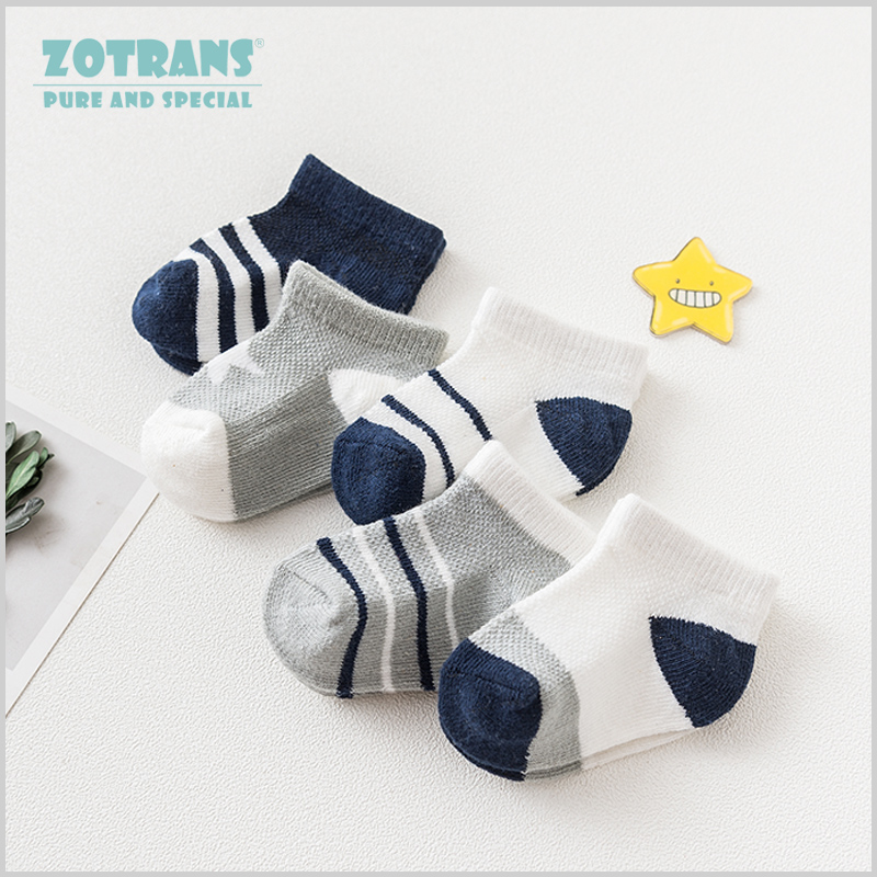 5 Pair/lot Baby Boy Socks Newborns Cotton Summer Aumtumn Stripes Socks Infant Toddle Socks Kids Blue Grey Short Socks For 0-24M