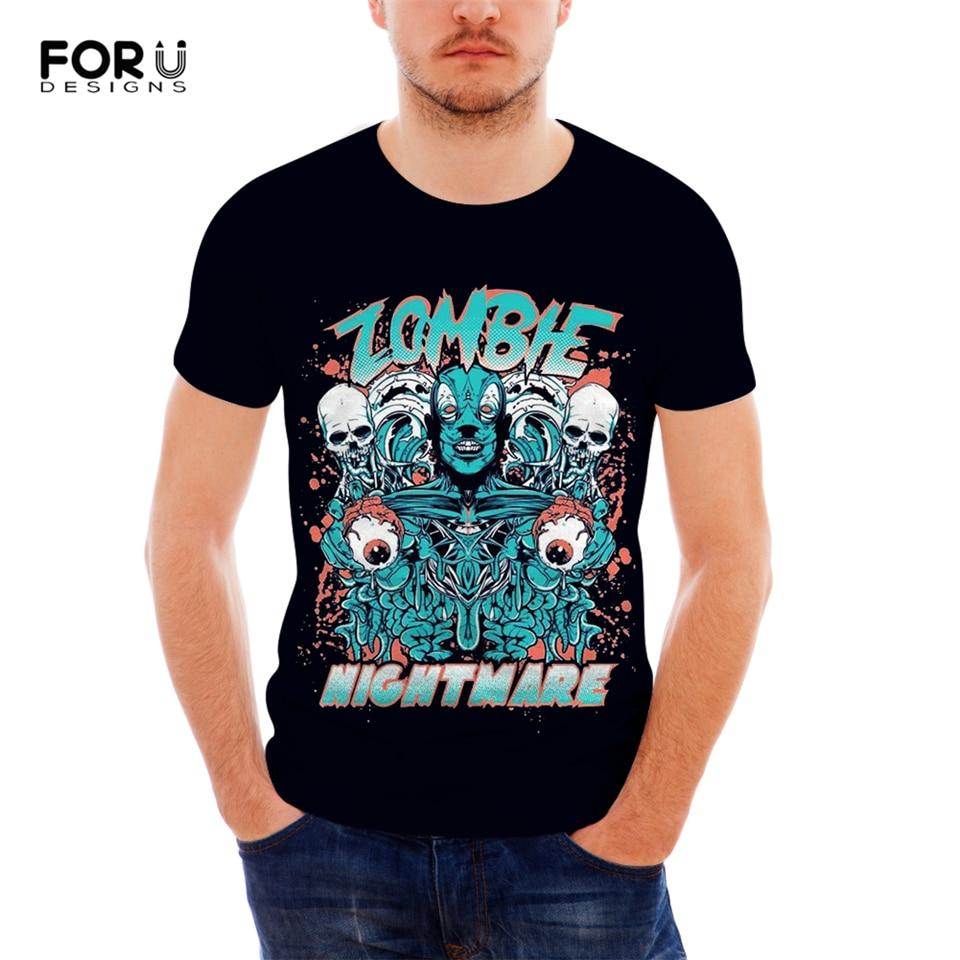 FORUDESIGNS Punk Skull T Shirt For Men Cool Customize Image Short Sleeve Teens Boys Top Tees 3D Printing T-Shirts 2019