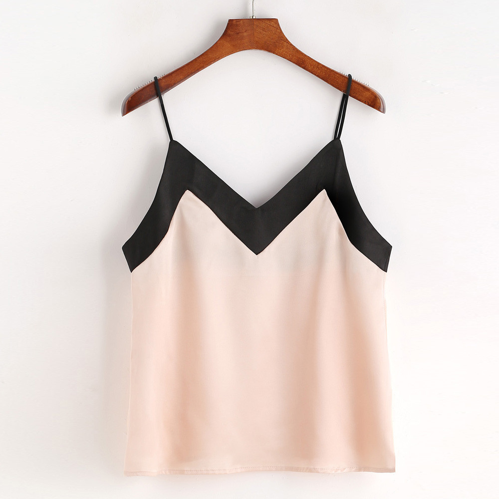 Elegant Ladies Crop Top Women Chiffon Shirt Casual Sleeveless Summer Tops Fashion Women V-neck Loose Vest Shirts Camis Pink #YL